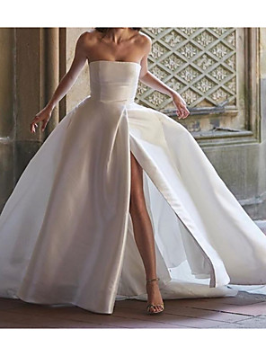 cheap Evening Dresses-Ball Gown Wedding Dresses Strapless Sweep / Brush Train Polyester Sleeveless Country Plus Size with Split Front 2020