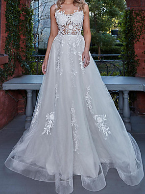 cheap Wedding Dresses-A-Line Wedding Dresses V Neck Sweep / Brush Train Lace Tulle Sleeveless Country Plus Size with Lace Buttons Embroidery 2020