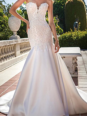 cheap Wedding Dresses-Mermaid / Trumpet Wedding Dresses Strapless Sweep / Brush Train Chiffon Over Satin Sleeveless Country Plus Size with Beading Appliques 2020