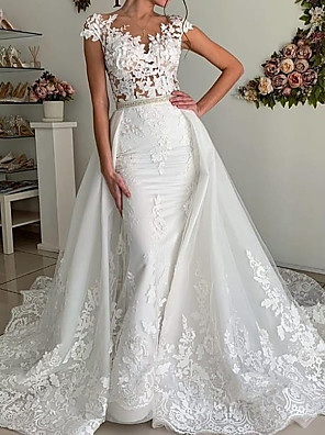 cheap Wedding Dresses-Mermaid / Trumpet Wedding Dresses V Neck Sweep / Brush Train Polyester Cap Sleeve Country Plus Size with Lace Insert Appliques 2020