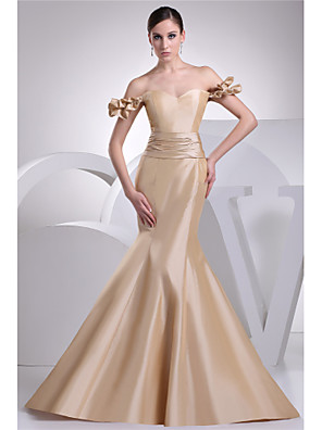cheap Evening Dresses-Mermaid / Trumpet Elegant Gold Engagement Formal Evening Dress Sweetheart Neckline Short Sleeve Court Train Taffeta with Sash / Ribbon 2020