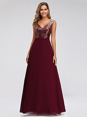 cheap Evening Dresses-A-Line Elegant Sparkle Wedding Guest Prom Dress V Neck Sleeveless Floor Length Chiffon with Sequin 2020