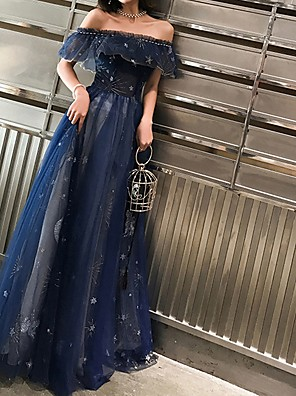 cheap Prom Dresses-A-Line Sparkle Blue Prom Formal Evening Dress Off Shoulder Short Sleeve Floor Length Polyester with Tier Embroidery 2020