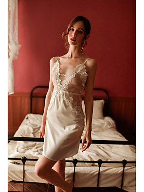 cheap Suits-Women's Lace / Backless / Cut Out Robes / Suits Nightwear Jacquard / Solid Colored White One-Size