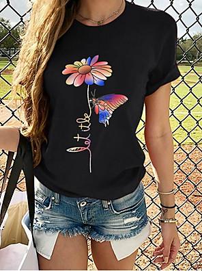 cheap Women's T-shirts-Women's T-shirt Geometric Print Tops Cotton Wine Black Red / Short Sleeve