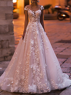 cheap Evening Dresses-A-Line Wedding Dresses V Neck Court Train Tulle Sleeveless Country Plus Size with Draping Appliques 2020