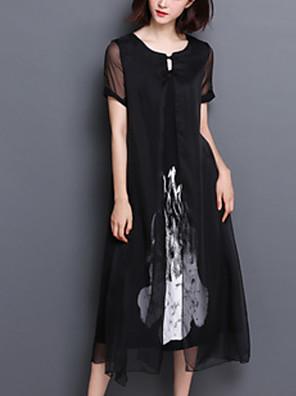 cheap Romantic Lace Dresses-Women's Sheath Dress - Short Sleeves Geometric Elegant White Black S M L XL XXL XXXL XXXXL XXXXXL