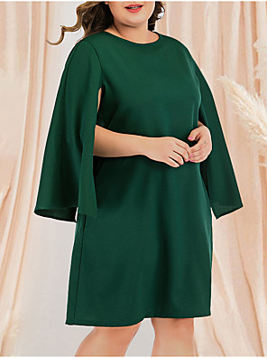 cheap Plus Size Dresses-Women's Plus Size Tunic Dress - Long Sleeve Solid Color Pleated Patchwork Casual Daily Flare Cuff Sleeve Belt Not Included Green L XL XXL XXXL XXXXL