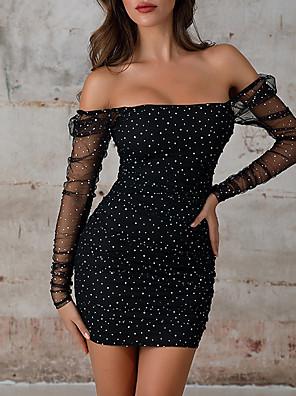cheap Women's Dresses-Womens Black Casual Chiffon Shein Lace Sleeve Sequin Bodycon Club Dress  MM0252