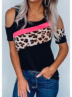 cheap Women's Blouses & Shirts-Women's T-shirt Leopard Patchwork Print Tops Black / Short Sleeve