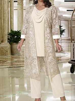 cheap Romantic Lace Dresses-Pantsuit / Jumpsuit Mother of the Bride Dress Elegant Cowl Neck Floor Length Lace Satin Long Sleeve with Lace 2020