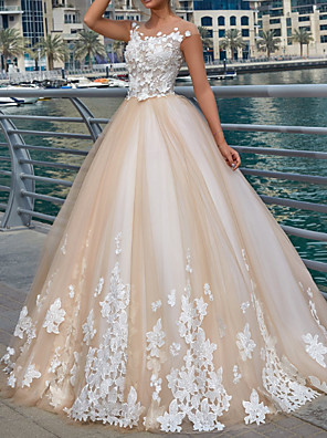 cheap Wedding Dresses-Ball Gown Wedding Dresses Jewel Neck Sweep / Brush Train Lace Tulle Polyester Cap Sleeve Country Plus Size with Embroidery Appliques 2020
