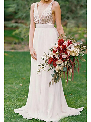 cheap Bridesmaid Dresses-A-Line Minimalist White Party Wear Prom Dress V Neck Sleeveless Sweep / Brush Train Chiffon with Pleats Sequin 2020