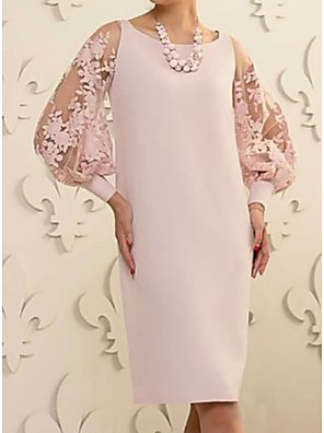 cheap Mother of the Bride Dresses-Sheath / Column Mother of the Bride Dress Elegant Jewel Neck Knee Length Lace Satin Long Sleeve with Appliques 2020
