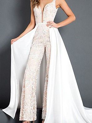 cheap Evening Dresses-Jumpsuits Wedding Dresses V Wire Floor Length Polyester Sleeveless Glamorous Plus Size with Beading 2020