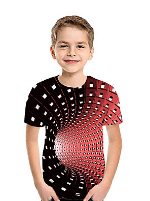 cheap Boys' Tops-Kids Boys' Active Street chic Geometric 3D Patchwork Pleated Print Short Sleeve Tee White