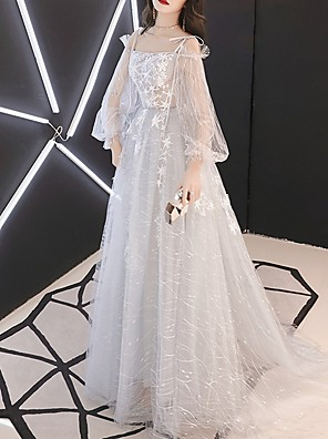 cheap Evening Dresses-A-Line Sparkle Grey Party Wear Prom Dress Spaghetti Strap Long Sleeve Floor Length Polyester with Sequin Appliques 2020