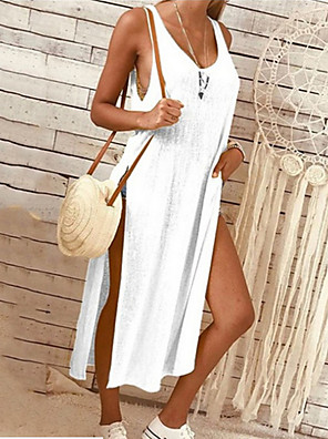 cheap Women's Blouses & Shirts-Women's A-Line Dress Midi Dress - Sleeveless Solid Color Cotton White Black Yellow Blushing Pink Gray S M L XL XXL