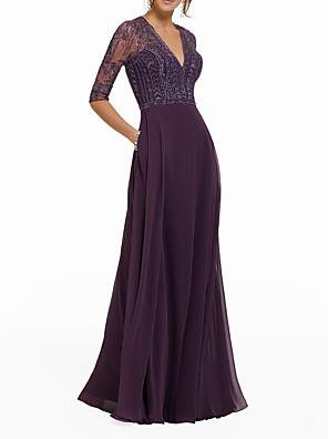 cheap Mother of the Bride Dresses-A-Line Mother of the Bride Dress Sexy V Neck Floor Length Chiffon Half Sleeve with Pleats Beading 2020