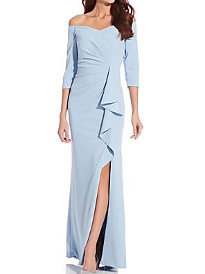 cheap Evening Dresses-Sheath / Column Mother of the Bride Dress Elegant Off Shoulder Floor Length Satin 3/4 Length Sleeve with Split Front Ruching 2020