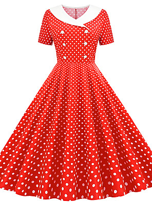 cheap Women's Dresses-Women's White Sheath Dress - Short Sleeves Polka Dot Print V Neck Vintage Style Daily Butterfly Sleeve Belt Not Included Slim Red Blushing Pink Navy Blue Light Blue S M L XL XXL
