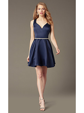 cheap Cocktail Dresses-A-Line Flirty Minimalist Homecoming Cocktail Party Dress Sweetheart Neckline Sleeveless Short / Mini Stretch Satin with Sash / Ribbon Crystals 2020