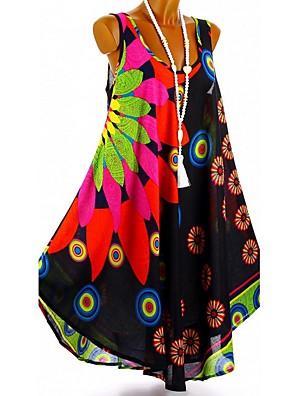 cheap Summer Dresses-Women's Chiffon Dress Short Mini Dress - Sleeveless Floral Print Summer Deep U Casual Holiday Vacation Loose 2020 White Black Blue Purple Red S M L XL XXL XXXL XXXXL XXXXXL