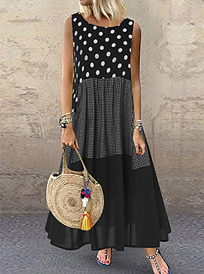 cheap Maxi Dresses-Women's Plus Size Maxi Dress - Sleeveless Polka Dot Patchwork Summer Casual Holiday Vacation Loose 2020 Black Red Yellow M L XL XXL XXXL XXXXL XXXXXL