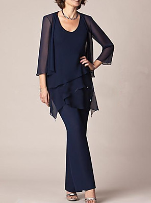 cheap Mother of the Bride Dresses-Pantsuit / Jumpsuit Mother of the Bride Dress Elegant Jewel Neck Floor Length Chiffon 3/4 Length Sleeve with Tier 2020