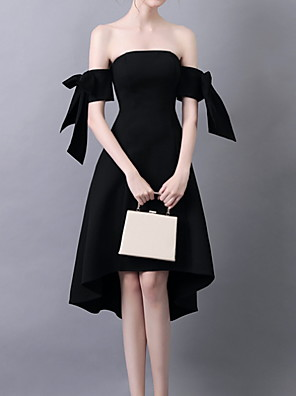 cheap Cocktail Dresses-Back To School A-Line Elegant Little Black Dress Homecoming Cocktail Party Dress Off Shoulder Short Sleeve Knee Length Polyester with Bow(s) 2020 Hoco Dress