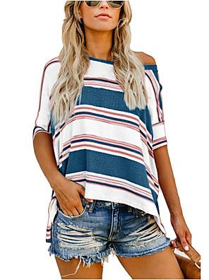 cheap Women's T-shirts-Women's T-shirt Striped Print Tops Black Red Light Blue / Short Sleeve