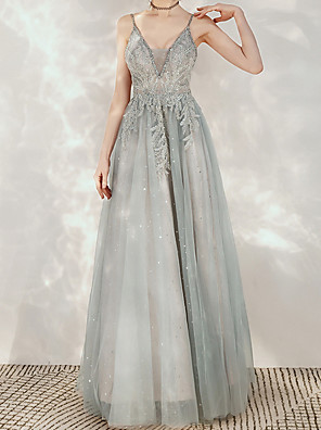 cheap Prom Dresses-A-Line Elegant Grey Engagement Formal Evening Dress Spaghetti Strap Sleeveless Floor Length Polyester with Sequin Embroidery 2020