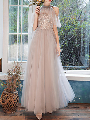cheap Bridesmaid Dresses-A-Line Halter Neck Floor Length Tulle Bridesmaid Dress with Ruffles / Appliques / Illusion Sleeve / See Through