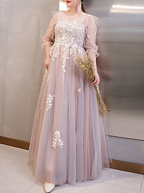 cheap Special Occasion Dresses-A-Line Luxurious Plus Size Wedding Guest Formal Evening Dress Jewel Neck 3/4 Length Sleeve Floor Length Tulle with Appliques 2020