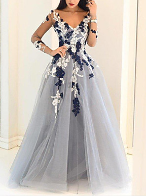 cheap Evening Dresses-Ball Gown Floral Blue Engagement Prom Dress V Neck Long Sleeve Floor Length Polyester with Appliques 2020 / Illusion Sleeve