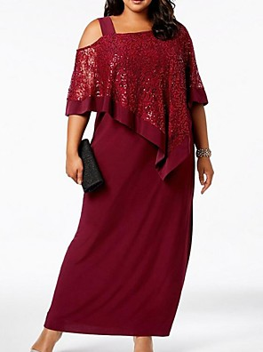 cheap Mother of the Bride Dresses-Sheath / Column Mother of the Bride Dress Elegant Plus Size Bateau Neck Ankle Length Chiffon Lace Half Sleeve with Split Front 2020