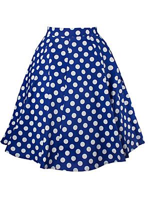 cheap Women's Skirts-Women's Basic Swing Skirts - Polka Dot Red Blue White S M L