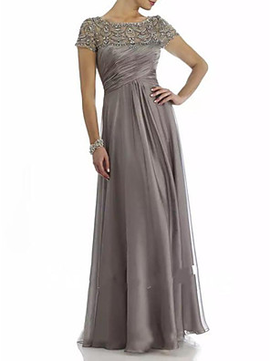 cheap Prom Dresses-A-Line Mother of the Bride Dress Elegant Jewel Neck Floor Length Chiffon Satin Short Sleeve with Beading Sequin Draping 2020