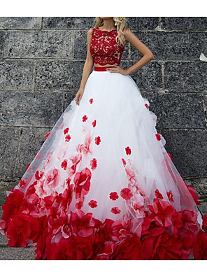 cheap Wedding Dresses-Ball Gown Wedding Dresses Jewel Neck Sweep / Brush Train Polyester Sleeveless Country Plus Size Red with Lace Insert Appliques 2020