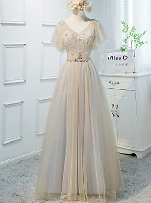 cheap Prom Dresses-A-Line Color Block Boho Wedding Guest Prom Dress V Neck Short Sleeve Floor Length Polyester with Sash / Ribbon Crystals 2020