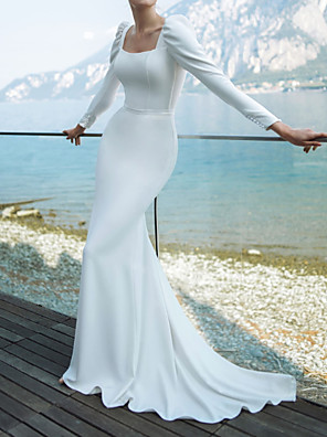 cheap Evening Dresses-Mermaid / Trumpet Wedding Dresses Scoop Neck Sweep / Brush Train Chiffon Over Satin Long Sleeve Country Plus Size with Buttons 2020