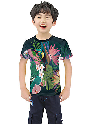 cheap Boys' Tops-Kids Boys' Active Street chic Geometric 3D Patchwork Pleated Print Short Sleeve Blouse Rainbow