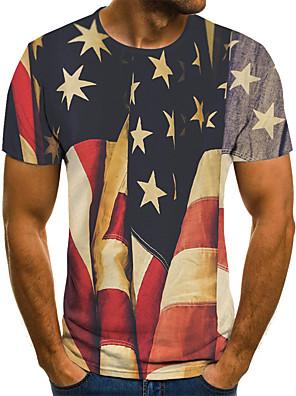 cheap Men's Tees-Men's Tee T shirt Shirt 3D Print National Flag Print Short Sleeve Daily Tops Comfortable Big and Tall Round Neck Lake blue Dark Pink Blue