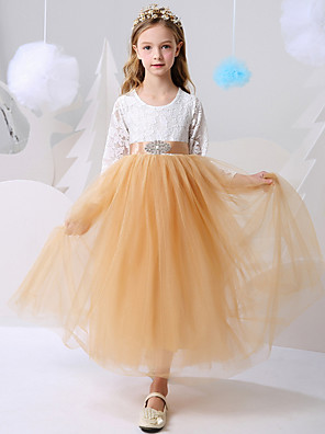 cheap Flower Girl Dresses-Ball Gown Floor Length Party / Birthday Flower Girl Dresses - Polyester Long Sleeve Jewel Neck with Color Block
