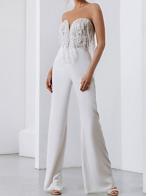 cheap Wedding Dresses-Jumpsuits Wedding Dresses Strapless Floor Length Polyester Cap Sleeve Country Plus Size with Crystals Tassel 2020