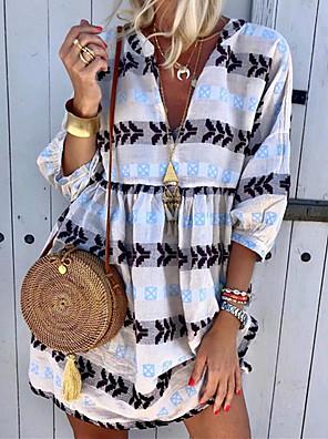 cheap Casual Dresses-Women's Shift Dress - 3/4 Length Sleeve Print Summer V Neck Boho 2020 White Yellow Green Light Blue S M L XL XXL XXXL