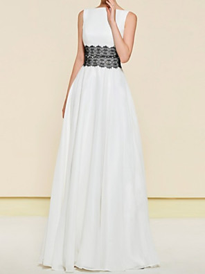 cheap Mother of the Bride Dresses-A-Line Mother of the Bride Dress Elegant Jewel Neck Floor Length Chiffon Lace Sleeveless with Sash / Ribbon Pleats 2020