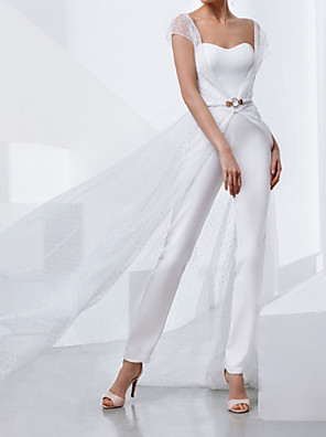 cheap Evening Dresses-Two Piece Jumpsuits Wedding Dresses Strapless Sweep / Brush Train Lace Stretch Satin Short Sleeve Country Plus Size with Lace Sashes / Ribbons Appliques 2020 / Yes