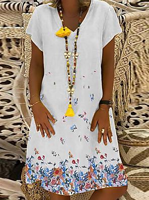 cheap Casual Dresses-Women's A Line Dress - Short Sleeves Print Floral V Neck White Black Blue Yellow S M L XL XXL XXXL XXXXL XXXXXL