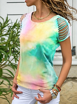 cheap Summer Dresses-Women's Color Block Tie Dye T-shirt Daily Blue / Blushing Pink / Green